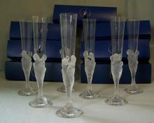 Set of eight Erte Flute Majestique champagne flutes
