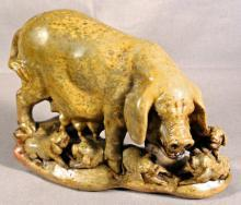 19thc Chinese carved soapstone sow and piglets c1900