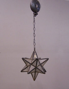 Moravian star hanging leaded glass light fixture