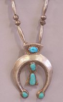 Native American silver turquoise pawn squash blossom