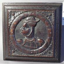 17th century Italian carved wood panel profile with fun