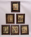 Set of six English lithographs The Lives of London set