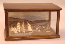 Antique Nautical Ships Diorama ships at port c1880