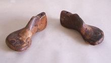Pair of early B Willhide cobblers wooden shoe molds
