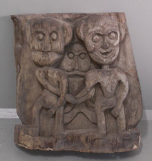 Early Indonesian wood carving from solid block