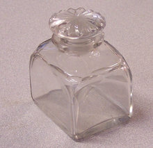 Blown and hand cut glass ink well with cut stopper c185