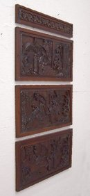Set of four Chinese hand carved wood panels c1900