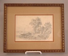 European pencil drawing of harbor and country side 1840