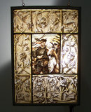 Pr German 19thc painted glass panels window signed G. G