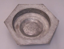 German 1726 pewter hexagonal holy water basin