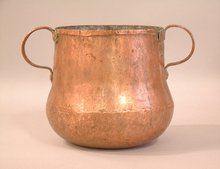 Early copper storage container with double handles 1700
