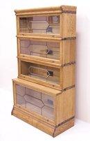 Macey Oak sectional stacking oak leaded door bookcase