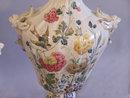 Pair of 19th c. Nove faience porcelain lidded urns