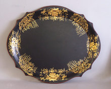 Black oval tole tin  tray with gold design c1950