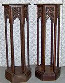 Gothic Revival Oak plant sculpture pedestals c1875