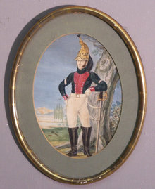 Watercolour of French Soldier with sword 19thc