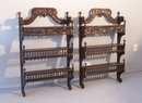 Pair French Provincial 3 tier wall shelves or etageres