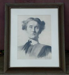 Jennie Burr Antique Portrait Pencil Drawing