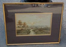 Antique English landscape watercolor Simpson