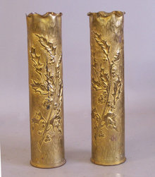 Trench Art brass shell carved vases WWl