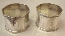 Victorian silver plated napkin rings pair c1865