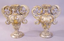 Italian giltwood baroque style carved urns 19thc