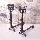 Pair of French 17th century tall hand wrought andirons