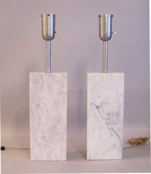 Mid Century Modern solid white marble table lamps c1960