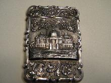 Sterling Card Case US Capital  Building, Washington DC circa 1850