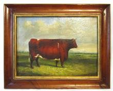 19thC BULL PAINTING / ENGLISH SCHOOL ANIMAL PORTRAIT