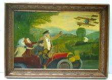 BIPLANE & CAR PAINTING/EARLY 20C QUIRKY FOLK ART O/B