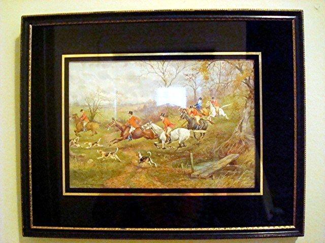 c. 1920s SPORTING ART/FOX HUNT SCENE WATERCOLOR/H. MURRAY