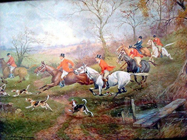 c. 1920s SPORTING ART/FOX HUNT SCENE WATERCOLOR/H. MURRAY