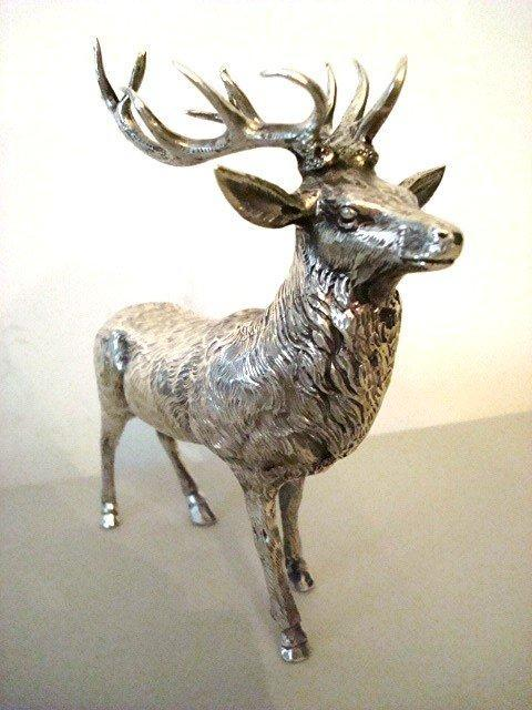 GERMAN SILVER STAG TABLE ORNAMENT / 800 CONTINENTAL SILVER