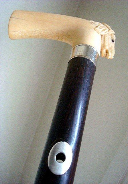 IVORY HORSE CANE/EARLY 1900s/ROSEWOOD & SILVER