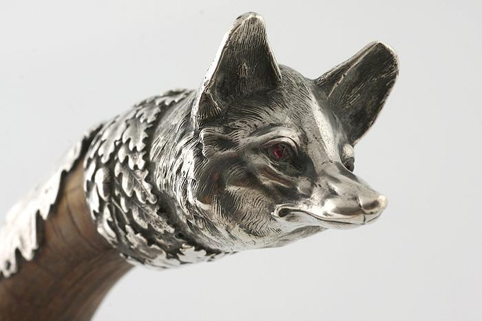 1880s WALKING STICK / ART NOUVEAU SILVER FOX HEAD / FRENCH CANE