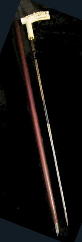 IVORY SWORD CANE/ VICTORIAN HORSE RACING STICK / WIN PLACE & SHOW / TOLEDO BLADE