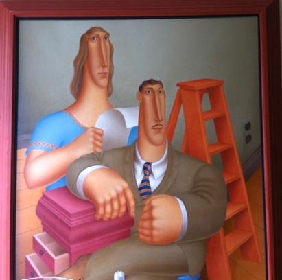 ROY CARRUTHERS (American, 1938-2013) HUGE OIL ON CANVAS / SIGNED & DATED/ LARGER-THAN-LIFE COUPLE