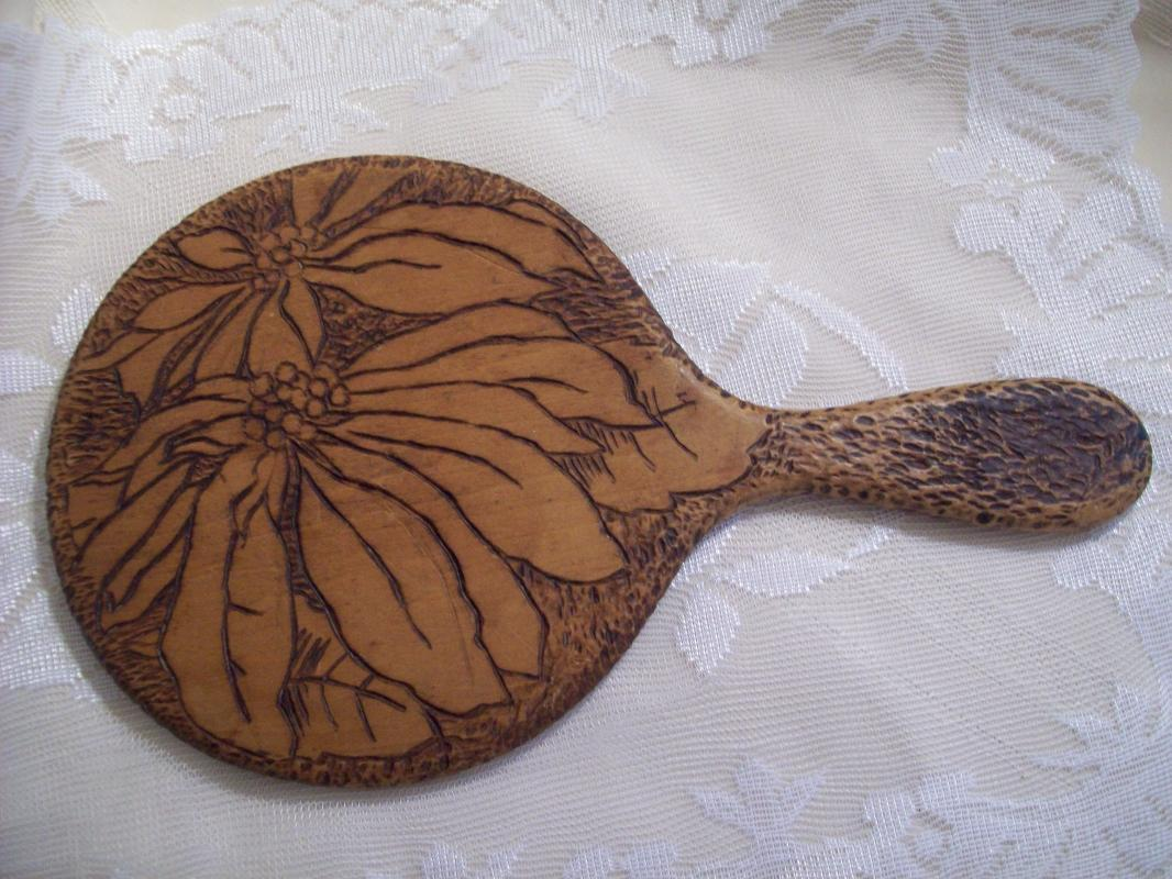 Pyrography Hand Mirror, deepy beveled glass