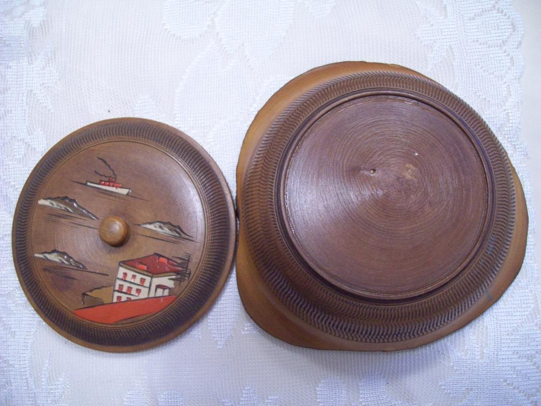 Oriental Carved Wooden Bowl with Lid