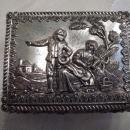 Silvertone Baroque Footed & Red Velvet lined Trinket Box
