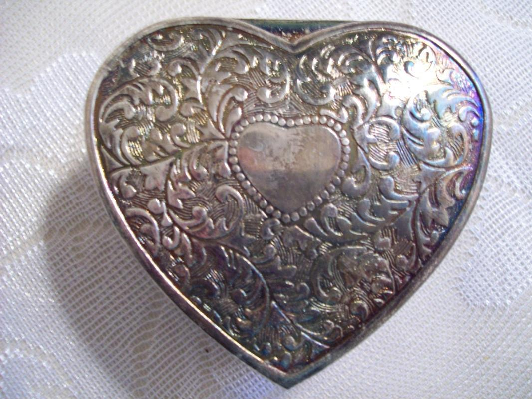 Etched Heart Shaped & Red Satin lined Trinket Box