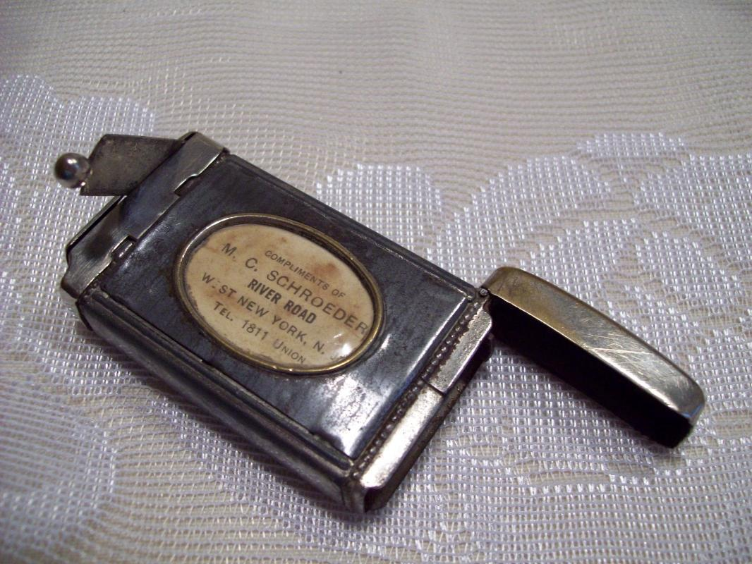 Horse Medallion Advertising Match Safe with Cigar Cutter