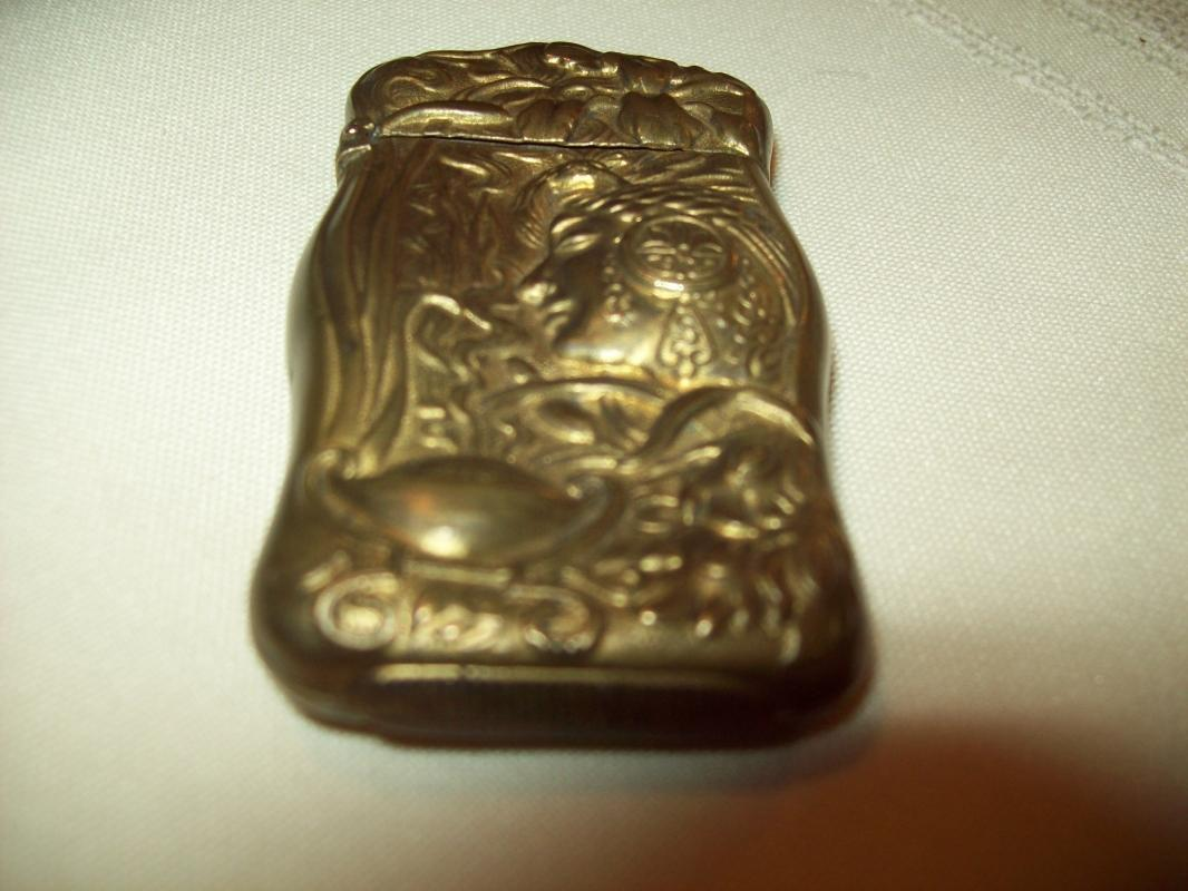 Art Nouveau Patinated Brass Match Safe - Matchsafe