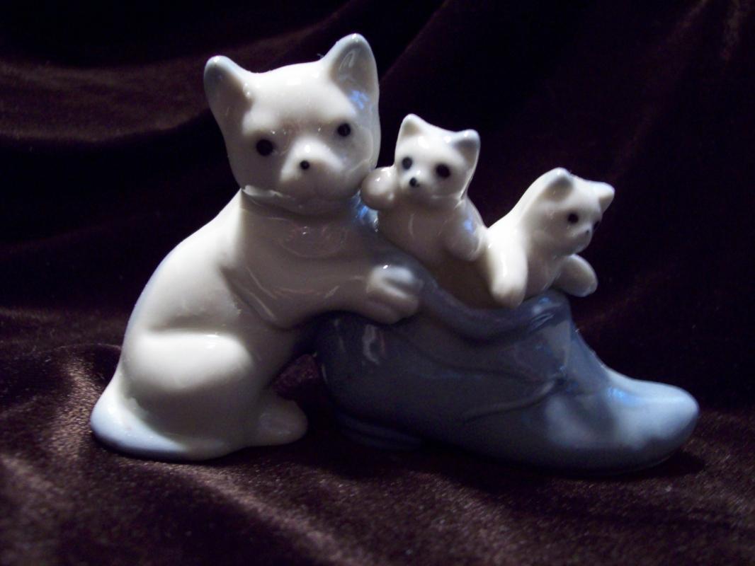 Occupied Japan Kittens in Blue Shoe Figurine