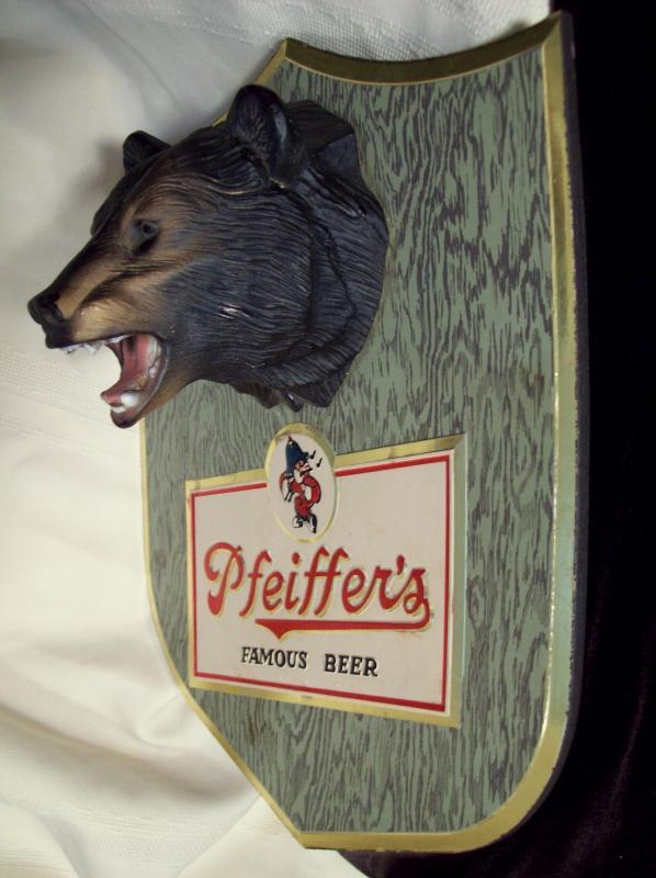 Pfeiffer's Famous Beer Black Bear Wall Plaque