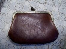 Brown Leather Change Purse