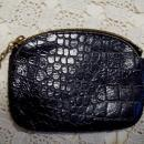 Black Leather Embossed Change Purse