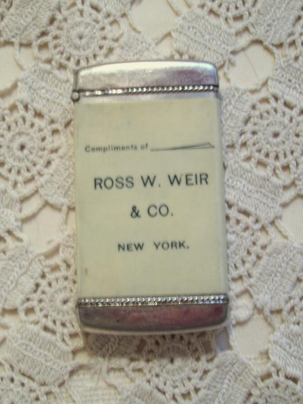 Ross W Weir & Co. Advertising Match Safe - Matchsafe
