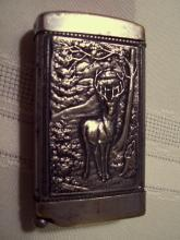 Stag & Picture Matchsafe with Cigar Cutter